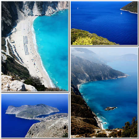 kefalonia: collage of kefalonia island Stock Photo