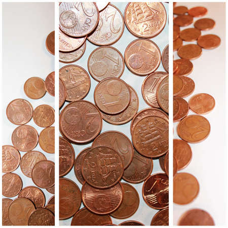 cents: collage of euro cents coins Stock Photo