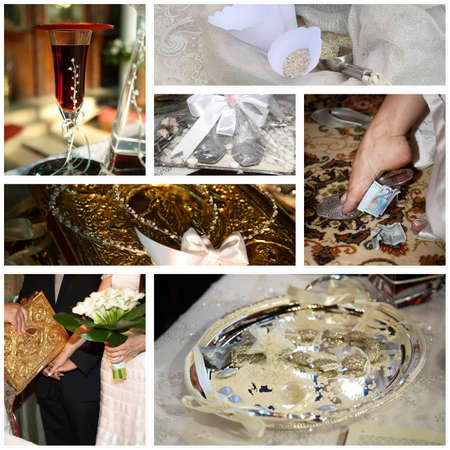 wreaths: collage of orthodox traditional wedding moments
