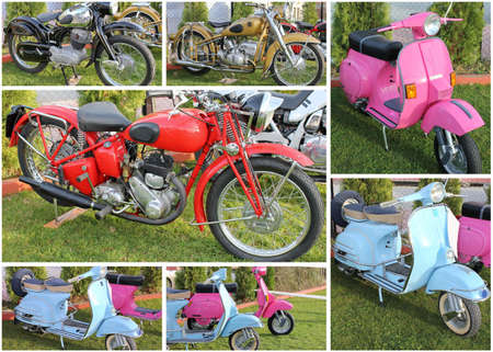 vintage motorcycle collage photo