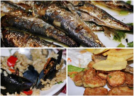 pesce cotto: Collage di pesce cucinato