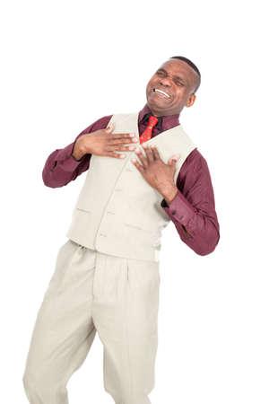 agression: Black businessman posing Stock Photo