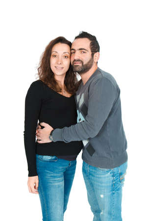 Man posing with his pregnant wife photo