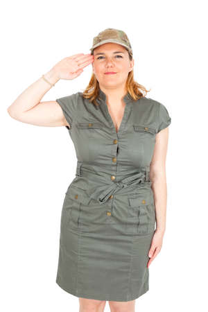 Beautiful Soldier woman doing differnt expressions photo