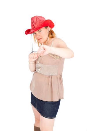 key punching: Beautiful Cowgirl doing differnt expressions Stock Photo