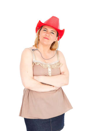 differnt: Beautiful Cowgirl doing differnt expressions Stock Photo