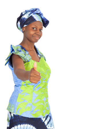 well build: Beautiful black woman doing different expressions in different sets of clothes: thumbs up