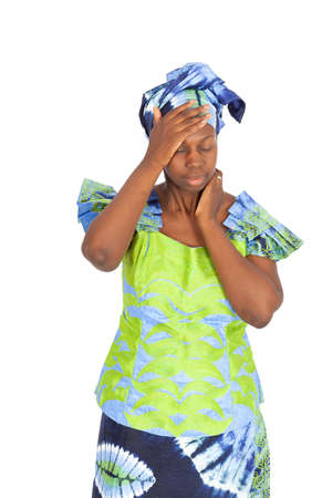Beautiful black woman doing different expressions in different sets of clothes: headache photo