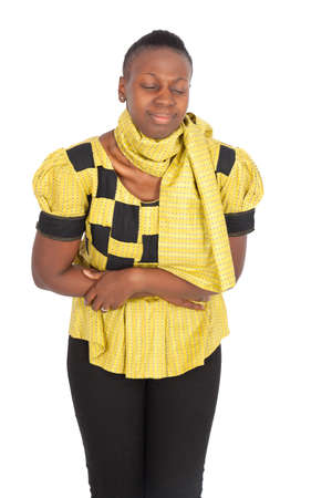 Beautiful black woman doing different expressions in different sets of clothes: stomachache photo