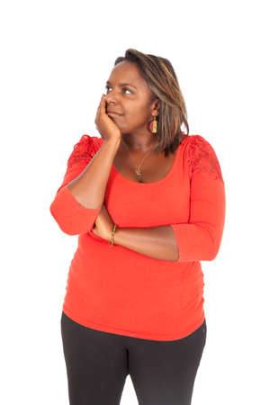 large build: Beautiful black woman doing different expressions in different sets of clothes