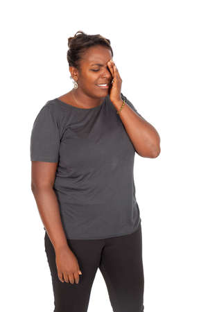 Beautiful black woman doing different expressions in different sets of clothes photo