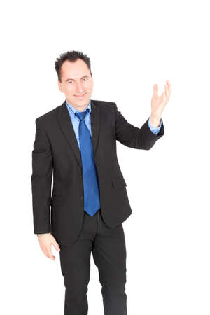 Handsome businessman doing different expressions in different sets of clothes: waving photo