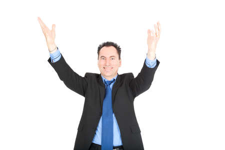 Handsome businessman doing different expressions in different sets of clothes: arms raised photo