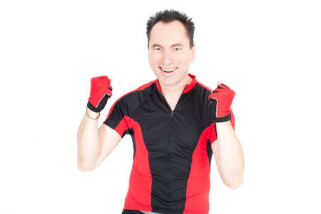 Handsome biker doing different expressions in different sets of clothes: victory photo