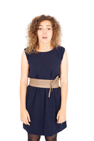 Beautiful Hispanic woman doing different expressions in different sets of clothes: bad surprise photo