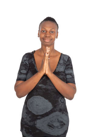 large build: Beautiful black woman doing different expressions in different sets of clothes: praying