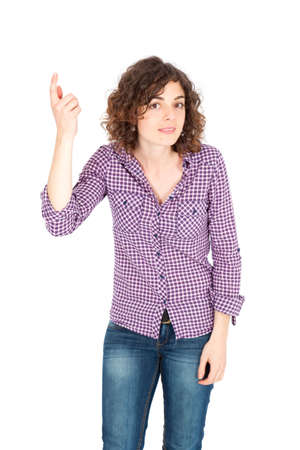 Beautiful Hispanic woman doing different expressions in different sets of clothes: you are crazy photo