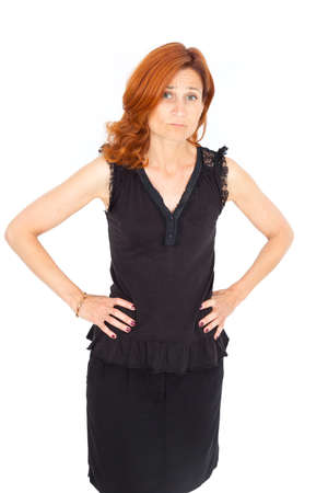 Beautiful businesswoman doing different expressions in different sets of clothes: bad news photo