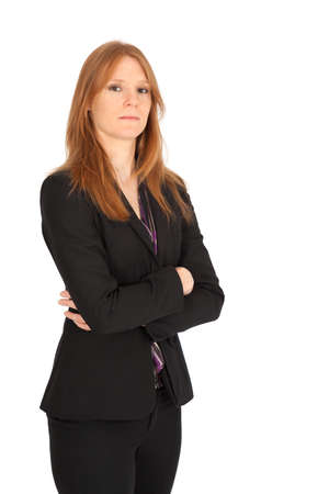 Beautiful businesswoman doing different expressions in different sets of clothes: arms crossed Stock Photo