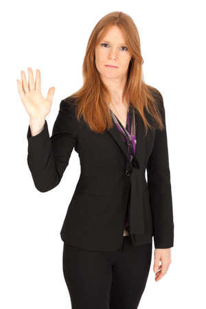 Beautiful businesswoman doing different expressions in different sets of clothes: be careful
