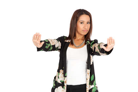 Beautiful woman doing different expressions in different sets of clothes: stop sign photo