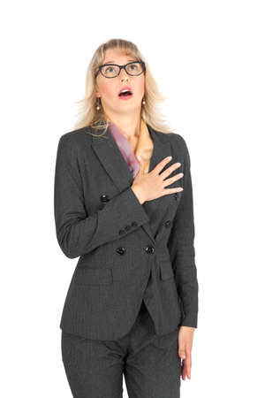 heartattack: Beautiful businesswoman doing different expressions in different sets of clothes: heartattack Stock Photo