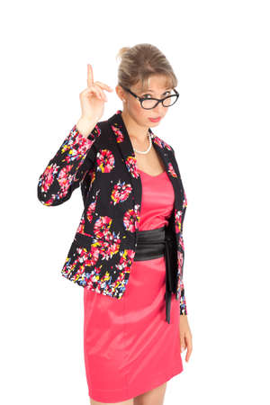 be careful: Beautiful businesswoman doing different expressions in different sets of clothes: be careful