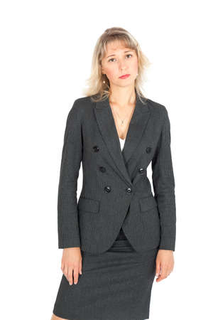 Beautiful businesswoman doing different expressions in different sets of clothes: angry