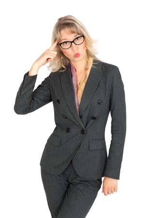 Beautiful businesswoman doing different expressions in different sets of clothes: you are crazy photo