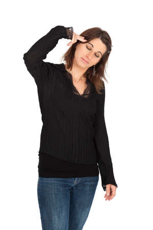 Beautiful woman doing different expressions in different sets of clothes: committing suicide Stock Photo