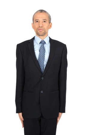 Handsome man doing different expressions in different sets of clothes: at attention Stock Photo