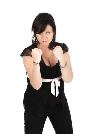 Beautiful woman doing different expressions in different sets of clothes: boxe Stock Photo