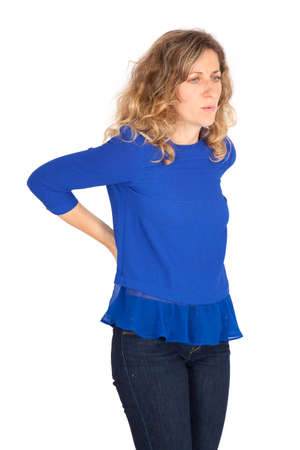Beautiful woman doing different expressions in different sets of clothes: back ache photo