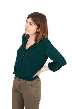 Beautiful woman doing different expressions in different sets of clothes: backache photo