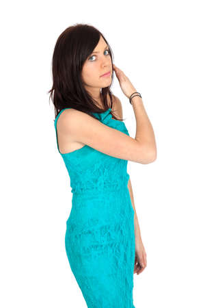 Beautiful woman doing different expressions in different sets of clothes: be careful photo