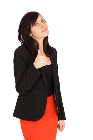 Beautiful woman doing different expressions in different sets of clothes: thumbs up photo