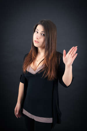 Beautiful woman doing different expressions in different sets of clothes: be careful