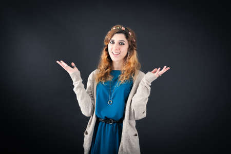 jewish ethnicity: Beautiful woman doing different expressions in different sets of clothes: joy Stock Photo