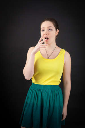 late 40s: beautiful woman doing different expressions in different sets of clothes: yawn Stock Photo