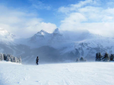 吹雪の中でスキーヤー