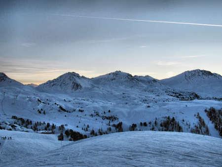 Snowy scene at dusk
