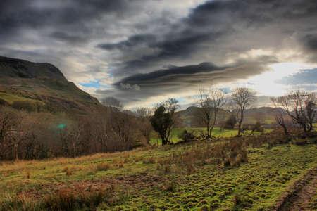Beautiful Welsh mountain range Cadair Idris under a moody grey sky Stock Photo - 13219125
