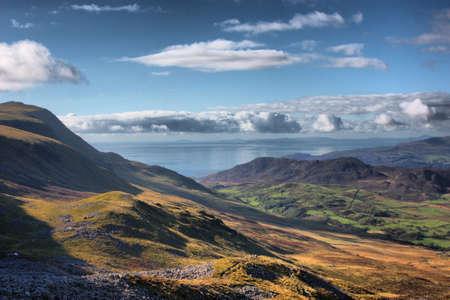 Mountainous Welsh countryside view toward the sea