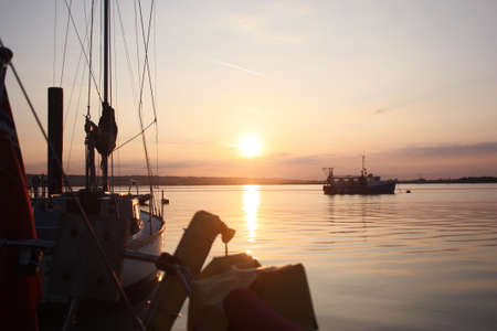 beautiful Sunrise over portsmouth harbour Stock Photo