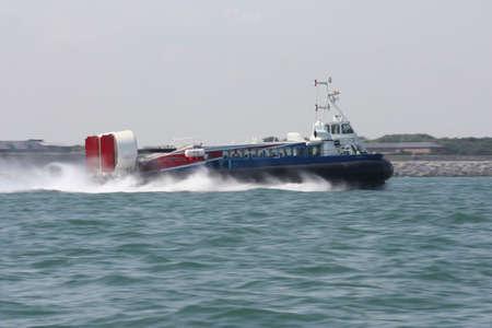 portsmouth: Portsmouth hovercraft passenger ferry on the sea Stock Photo