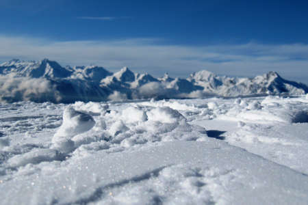 snow covered mountain peaks in the alps