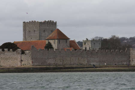 The old well preserved Portchester castle within portsmouth harbour