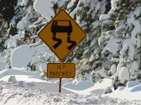 patches: Icy patches road warning sign Illustration
