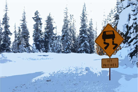 wintery snowy: Icy patches road warning sign Illustration