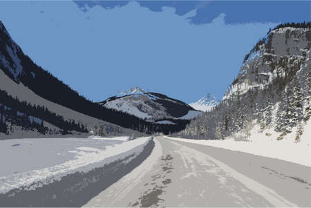 rockies: an icy road in front of a mountain under a blue sky